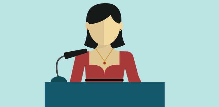 woman presenting illustration
