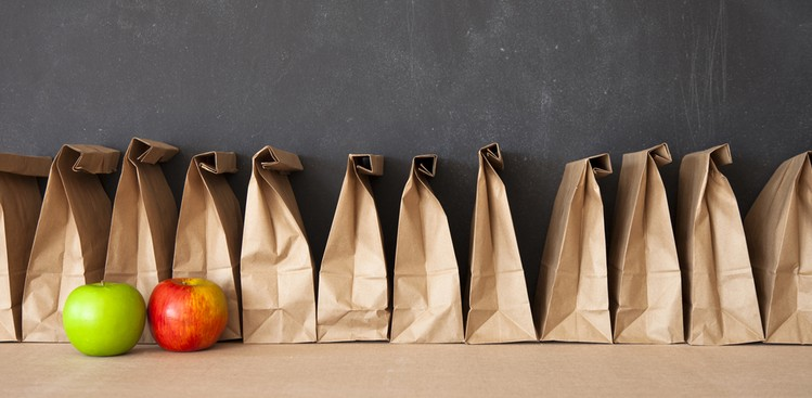 Brown lunch bags in a row