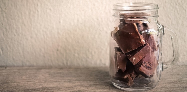 jar of chocolate pieces