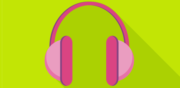 Pink headphones illustration on green background