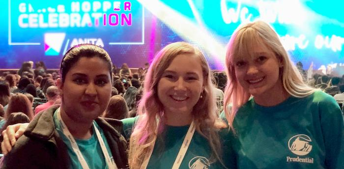 Elana Bobelis (far right) with co-workers at Grace Hopper Celebration 2019
