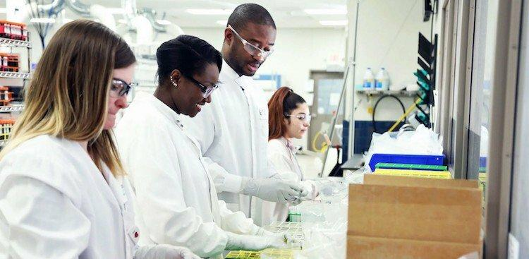 Exact Sciences employees working in a laboratory