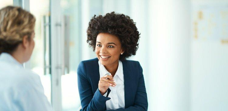 person in interview