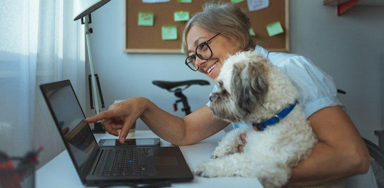 person holding dog in front of laptop