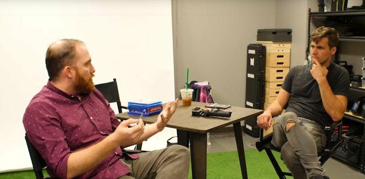 Cody Wanner (R) discuses social media with Taco Bell Marketing Manager Kirk Anderson (L)