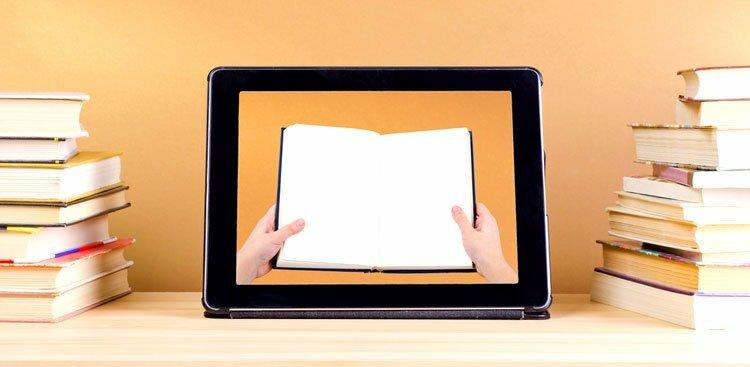 tablet and book