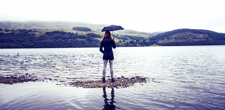 person at lake
