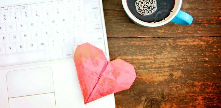 heart and laptop
