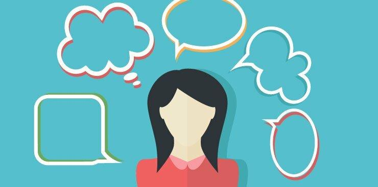 person with speech bubbles