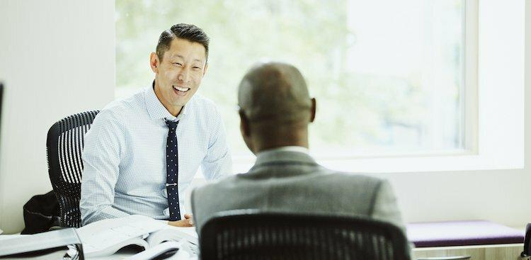 person networking with client