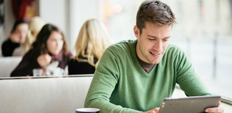 person reviewing tablet
