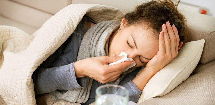 woman home sick