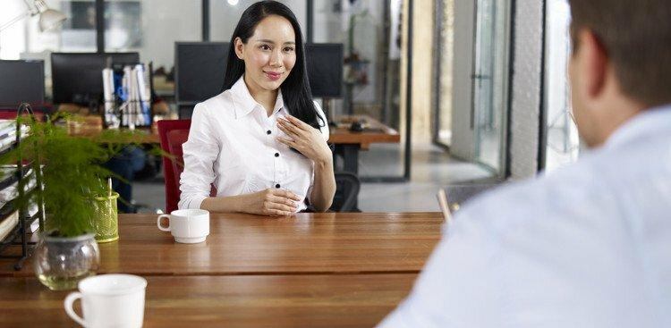 woman in an awkward interview