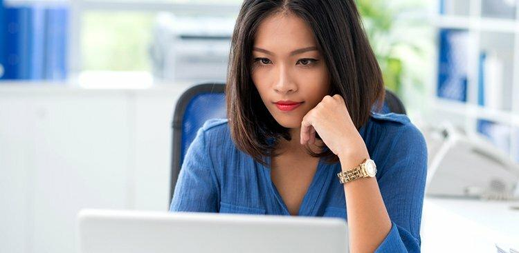 woman looking at website