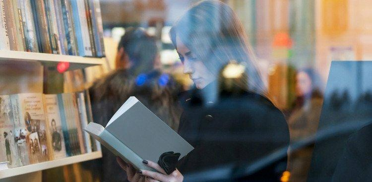 person browsing in bookstore