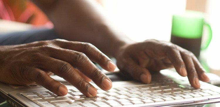 person typing