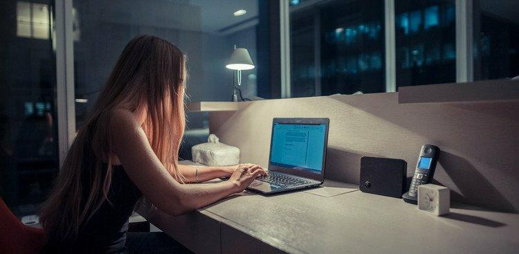person working late