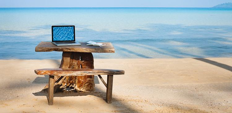 working on beach