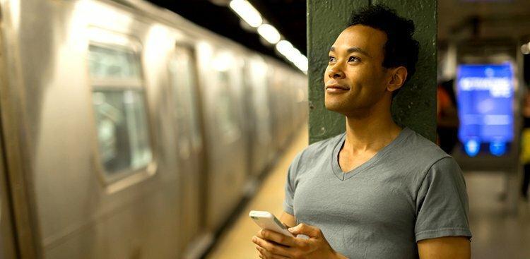 man in NYC subway