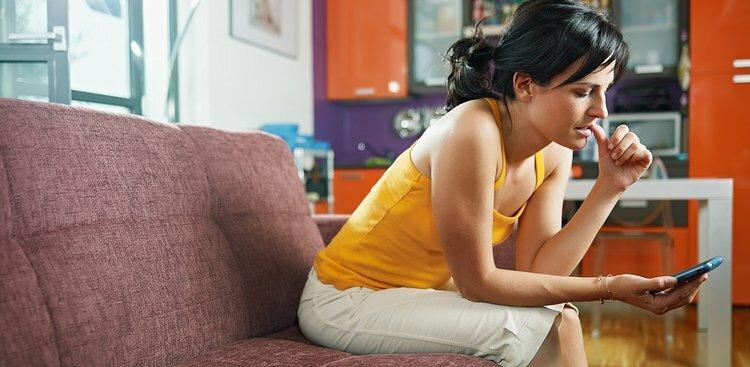 woman on phone at home