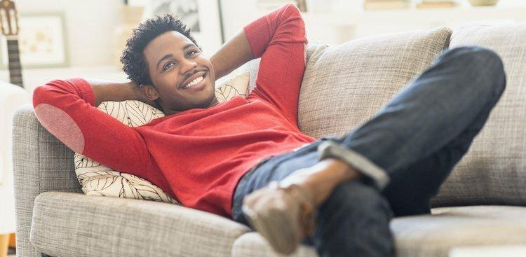 person relaxed at home