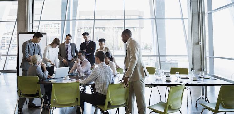 people in meeting in office