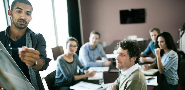 person in meeting