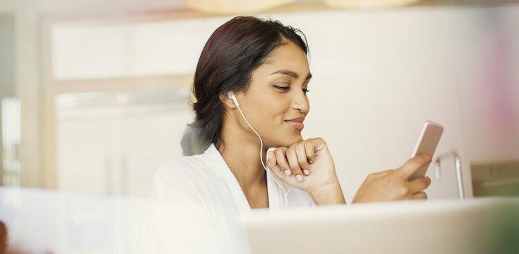 person listening to podcast