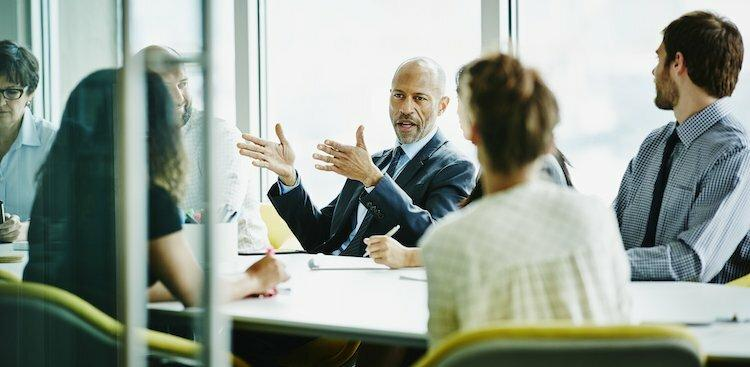 person talking in meeting