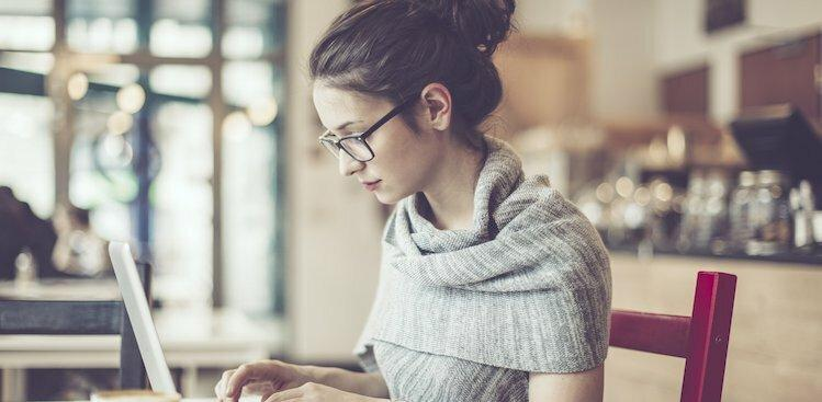 woman working diligently