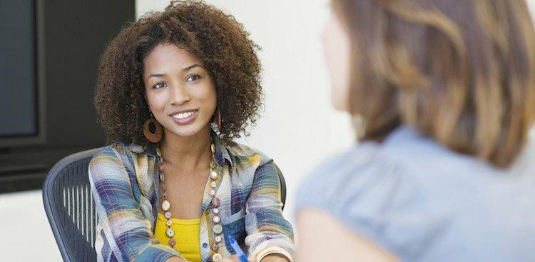 photo of woman on interview