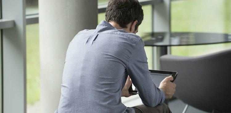 person looking at screen