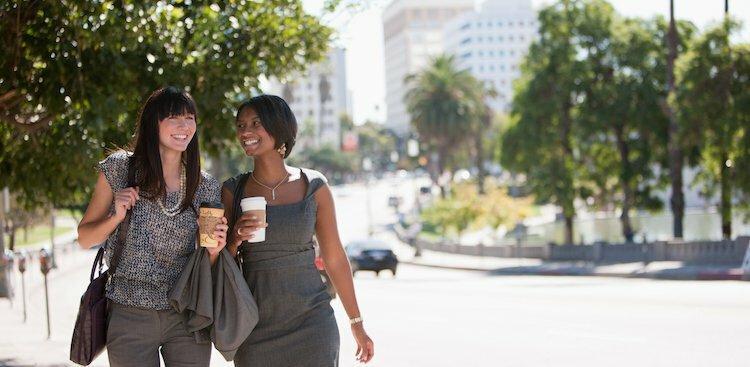 women walking outside