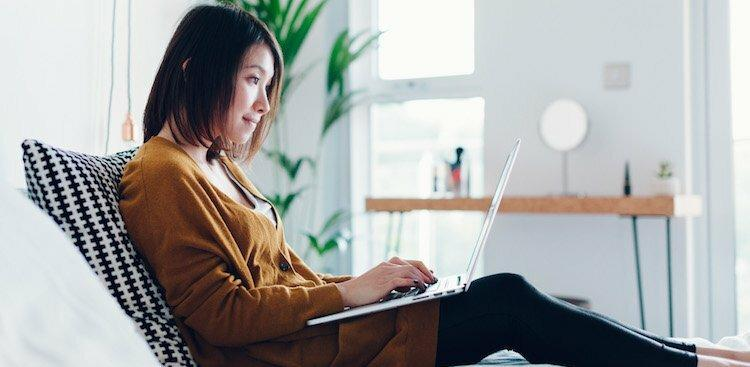 person at home on laptop