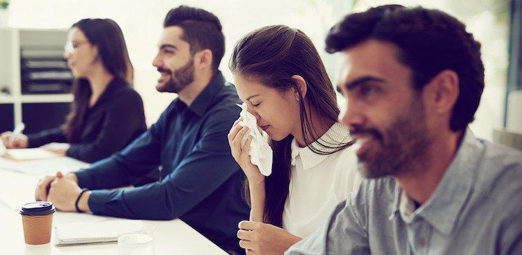 person sick in meeting