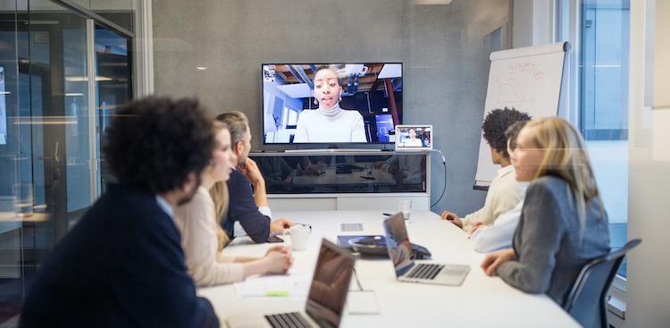 team having a video meeting