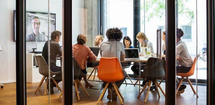 people in video meeting