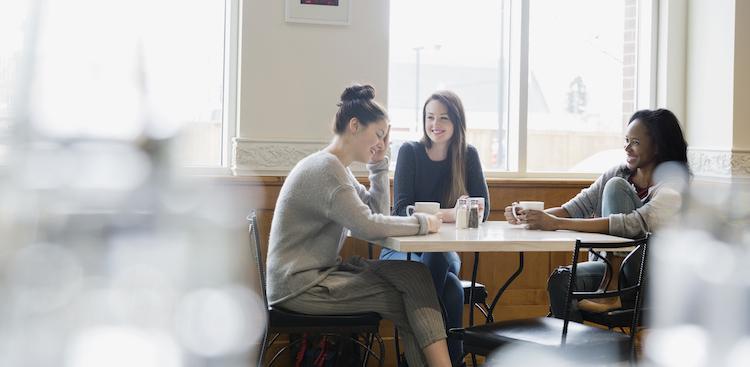 friends talking over coffee