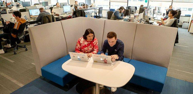 two CarGuru employees working on their laptops in the Cambridge office