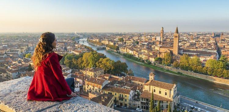 person in European city