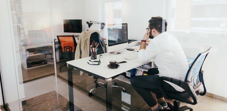 person alone at desk