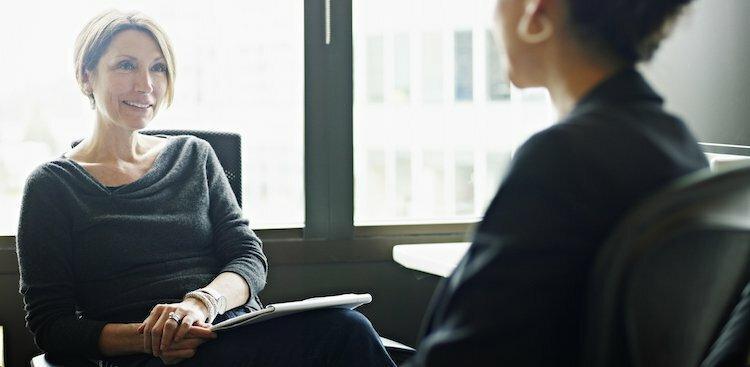 employee talking to boss