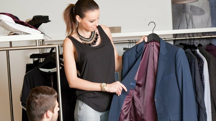 woman shopping for work attire