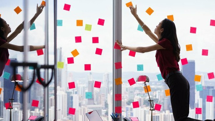 woman with sticky notes