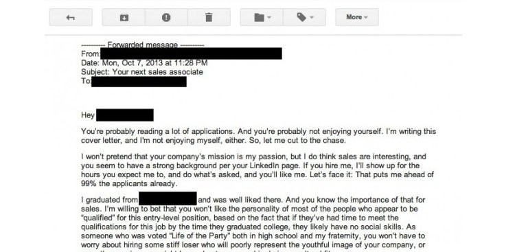 The Worst Cover Letter Ever Written (Literally)