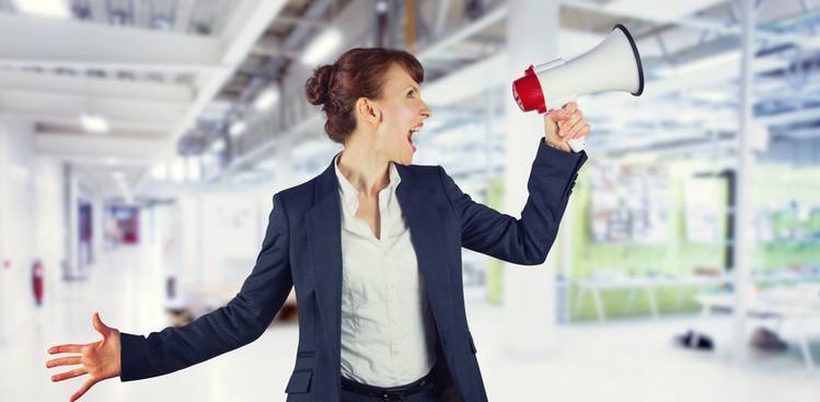 woman shouting in megaphone