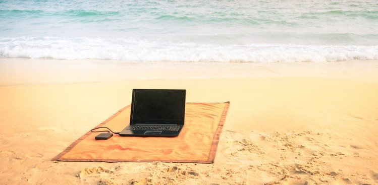 laptop on beach