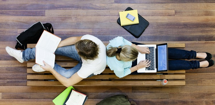 College students on laptops