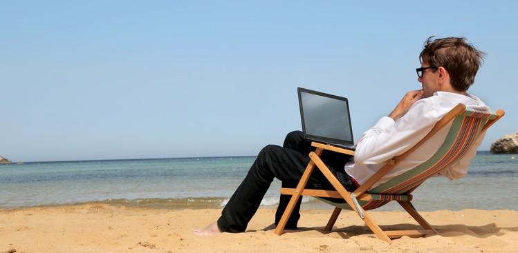 Man working on beach