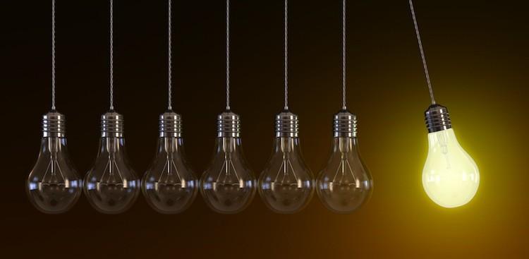 Light bulb lighting up